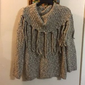 Chico's Size 2 Brown/Beige/White Fringe Sweater
